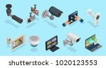 isometric cctv elements... | Shutterstock .eps vector #1020123553