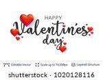 happy valentines day text and... | Shutterstock .eps vector #1020128116