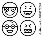 icons emoticons. vector happy ... | Shutterstock .eps vector #1020129940