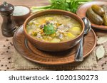 rassolnik. soup with chicken... | Shutterstock . vector #1020130273
