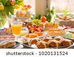 breakfast or brunch table... | Shutterstock . vector #1020131524