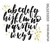handwritten alphabet. hand... | Shutterstock .eps vector #1020135700