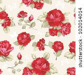 Stock vector seamless wallpaper pattern with of collection red roses on design background vector illustration 102014014