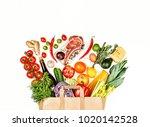 paper bag full of different... | Shutterstock . vector #1020142528