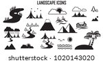 landscape icons  mono vector... | Shutterstock .eps vector #1020143020