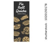 meat pie  roll  quiche vector...   Shutterstock .eps vector #1020150178