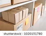 shelving with parcels ready for ... | Shutterstock . vector #1020151780