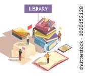 library isometric vector... | Shutterstock .eps vector #1020152128