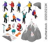 mountaineering isometric set of ... | Shutterstock .eps vector #1020152134