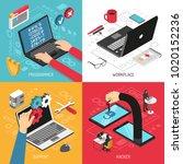 programmer work 4 isometric... | Shutterstock .eps vector #1020152236