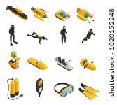 underwater tools accessories... | Shutterstock .eps vector #1020152248