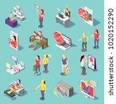 annoying advertisement on tv ... | Shutterstock .eps vector #1020152290