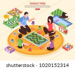 family pastime scene with... | Shutterstock .eps vector #1020152314