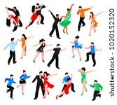 set of isometric people in... | Shutterstock .eps vector #1020152320