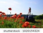 woman work in poppy field on...   Shutterstock . vector #1020154324