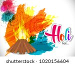 happy holi vector elements for... | Shutterstock .eps vector #1020156604
