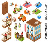 hostel isometric icons set with ... | Shutterstock .eps vector #1020156634