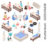 spa and beauty isometric set... | Shutterstock .eps vector #1020156658