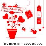 illustration happy valentine... | Shutterstock .eps vector #1020157990