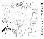 animal cartoon set isolated on... | Shutterstock .eps vector #1020159430