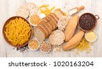 selection of gluten free food | Shutterstock . vector #1020163204