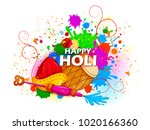 happy holi festival of colors... | Shutterstock .eps vector #1020166360
