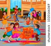 happy holi festival of colors... | Shutterstock .eps vector #1020166369