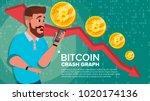 bitcoin crash graph vector.... | Shutterstock .eps vector #1020174136