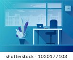 flat office interior... | Shutterstock .eps vector #1020177103
