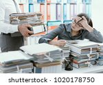 young stressed secretary in the ... | Shutterstock . vector #1020178750