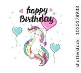 beautiful unicorn flies on a... | Shutterstock .eps vector #1020178933