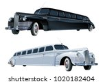 vector long vintage limo.... | Shutterstock .eps vector #1020182404