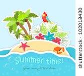island in the sea  ocean  with... | Shutterstock .eps vector #102018430