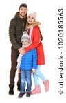 happy family in warm clothing... | Shutterstock . vector #1020185563