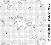 Stock vector cute hand drawn unicorn vector pattern vector illustration 1020193588