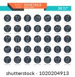 set of outline white icons on... | Shutterstock .eps vector #1020204913
