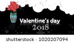 vase of roses with valentine's... | Shutterstock .eps vector #1020207094