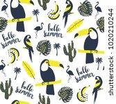 summer pattern. toucan  parrot  ... | Shutterstock .eps vector #1020210244