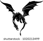 Stock vector dragon front flying 1020213499
