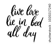 live  love  lie in bed all day. | Shutterstock .eps vector #1020217240