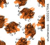seamless pattern of hand drawn... | Shutterstock .eps vector #1020217546