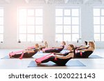 group of six women are doing... | Shutterstock . vector #1020221143