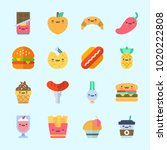 icons about food with scallion  ... | Shutterstock .eps vector #1020222808