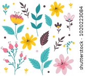 vector floral set. colorful... | Shutterstock .eps vector #1020223084
