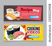 sushi doodle web banner | Shutterstock .eps vector #1020223408