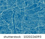 blue and white vector city map... | Shutterstock .eps vector #1020226093