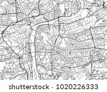 black and white vector city map ... | Shutterstock .eps vector #1020226333