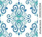 blue and green ornamental... | Shutterstock .eps vector #1020232204