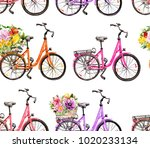 bicycles with flowers in basket.... | Shutterstock . vector #1020233134