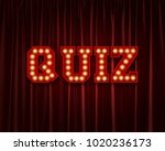 quiz lightbulb lettering word... | Shutterstock . vector #1020236173